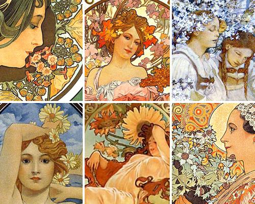 ミュシャの作品の特徴・女性と花