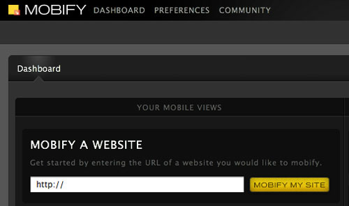 Mobify Webサイトを指定