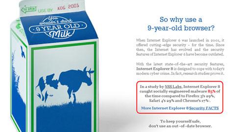 「IE6は9年前の腐った牛乳」窶熱icrosoftがアップグレード呼び掛け