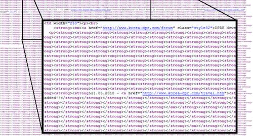 北朝鮮公式サイトにある、謎の872個のstrongタグ