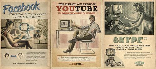 グラフィックデザイン: もしもFacebook、Youtube、Skypeが1960年代にあったら…
