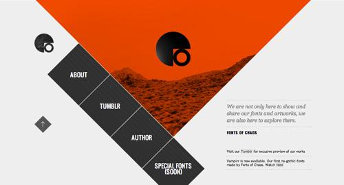 斜めグリッドを使ったデザインのウェブサイト