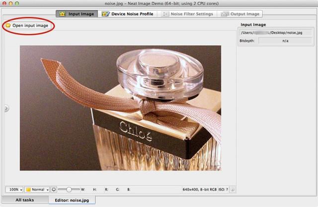 「Input Image」からノイズのある画像を開きます。