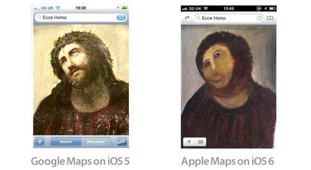 グーグルマップとアップル地図の差を一目で表すイメージ画像