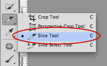 Photoshop and select Slice tool