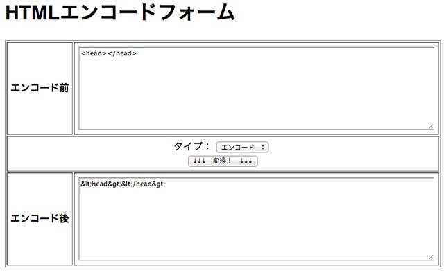 HTMLエンコードフォーム