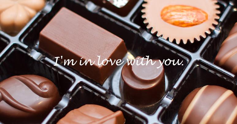 チョコレートの上にテキストを配置