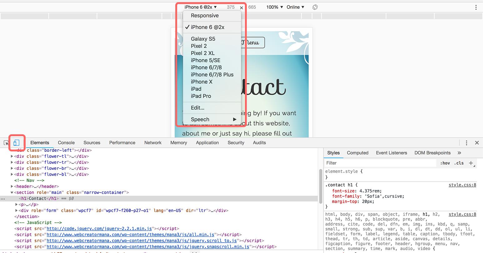 Chromeデベロッパーツールでモバイルサイズの検証